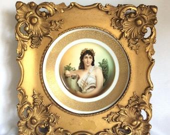 "Antique German Porcelain Plaque Lady Portrait Plate Framed Rosenthal 14"" 37cm"