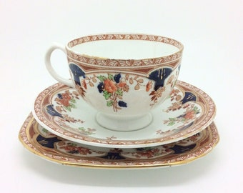"Sutherland English Collectors Porcelain Imari Red Blue Teacup Saucer Trio 5.5"" 2"