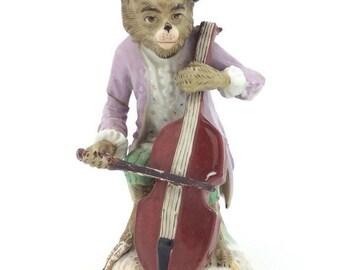 Continental German Monkey Band Figurine Blue Scissors mark Cello Player