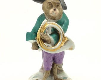 Continental German Monkey Band Figurine Blue Scissors mark Musician Horn