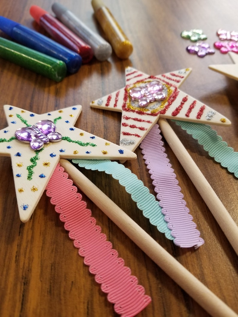 Fairy Or Pixie Birthday Party Wand Decorating Craft Kit