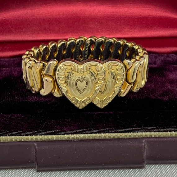 Vintage Sweetheart Bracelet Double Hearts Expansio