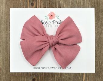 Mauve Dot Schoolgirl Bow