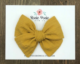 French Barrette Hair Bow Mustard Yellow Triple Stacked Bow