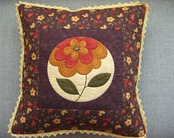 Plum & Mustard Flower Cushion