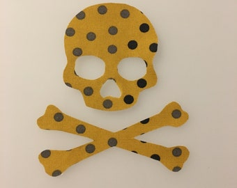 Polka Dot Iron-on Skull and Crossbones Patch