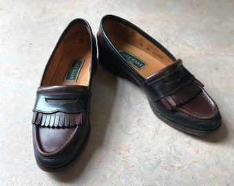 Vintage Brown and Black Leather Cole Haan Loafers Womens Size 7.5