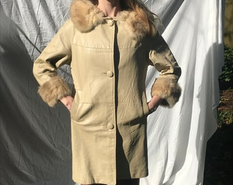 Vintage 1960's Tan Leather and Fur Coat