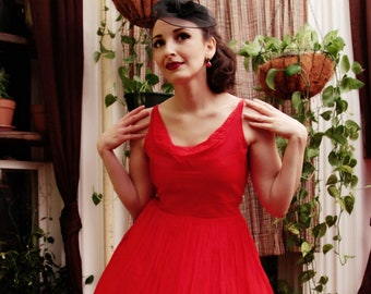 Bright Red Chiffon 1950's Vintage Party Dress