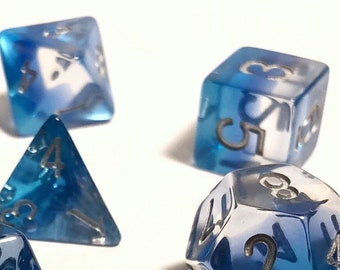 DnD Dice Set Ice Blue Layered Polyhedral Dice Set - DnD Dungeons and Dragons D&D Pathfinder RPG Dice