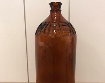 Vintage Brown Glass Bottle - Purex