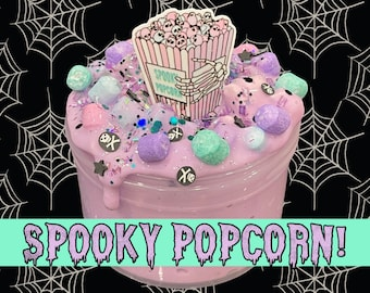 SPOOKY POPCORN HALLOWEEN Cotton Candy Scented Slime! Floam Popcorn D.I.Y Clay Slime! Slay Slime