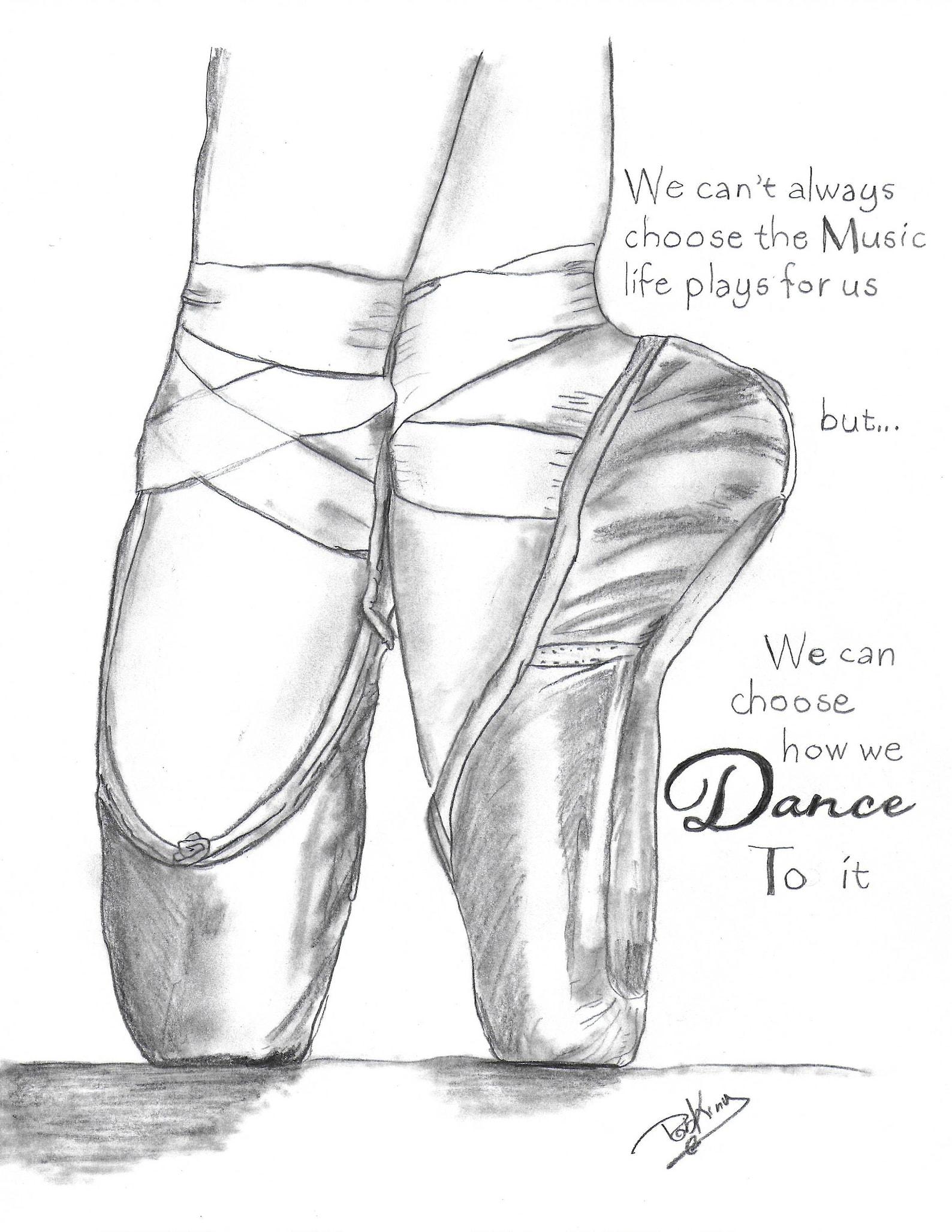 ballet shoes print, printable art