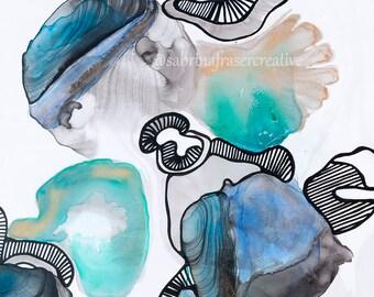 Original 'Marina' Abstract Mixed Media