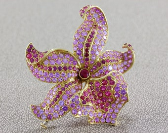 Tiffany & Co. French Sapphire Spinel Gold Orchid Brooch