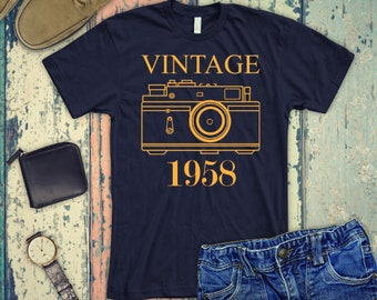 VINTAGE 1958 Shirt 60th Birthday Gift For Man And Women T Born In Tank Top 60 Years Old Tee