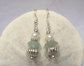 Sea foam sea glass earrings, sea glass jewelry, beach glass jewelry, sea glass earrings, beach glass earrings, sea foam sea glass