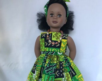 0fea4acba03 African Print Crop Top and Full Skirt for 18 inch doll