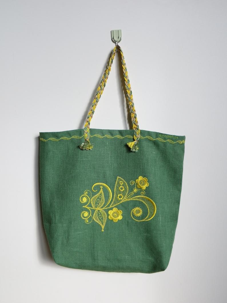 Linen bag Market bag Boho style Shopping bag Embroidered bag Tote bag Reusable Grocery Bag Foldable Bag Soft Bag