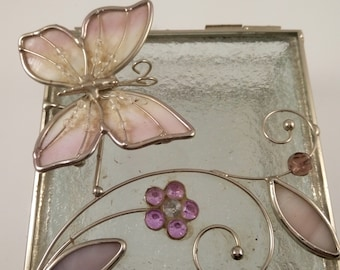 Glass jewelry box Stained glass box butterfly and flower decor Vintage jewelry trinket box Hinged Lid Keepsake box Enamel charms Gift idea