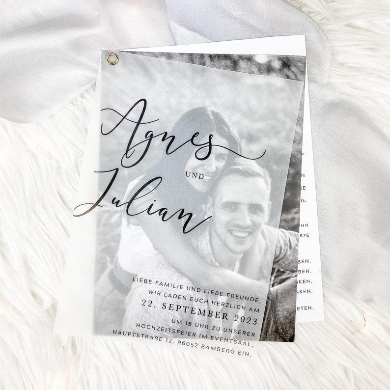 Hochzeitseinladung mit Transparentpapier