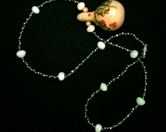 An Original Hand Beaded Holly Gourd Necklace