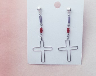 Beaded cross drop earrings