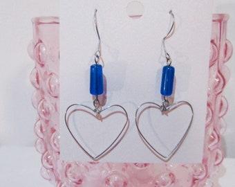 Silver wire heart earrings