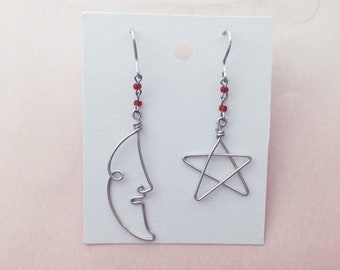 Wire face moon and star earrings