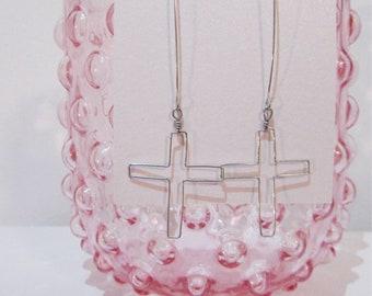 Silver drop cross earrings