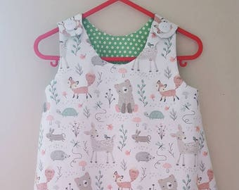 Girls tunic style dress. Woodland creatures print. Age 1 - 2. Girls dress. Toddler dress.