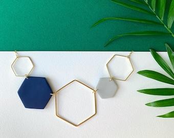 Gold Hexagon Statement Necklace - Navy Blue & Grey
