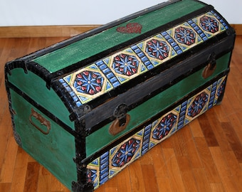 Hand decorated wooden trunk