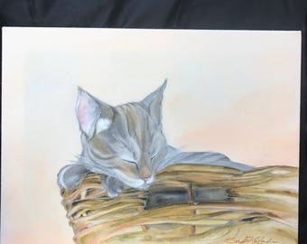 Cat in Basket    14 x 18    Original Watercolor Batik