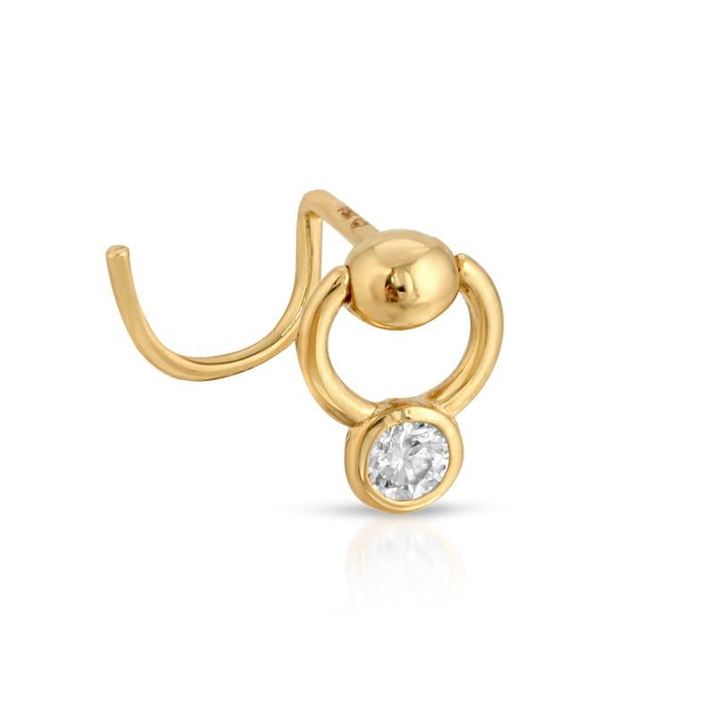 Nostril Screw 14k Gold Nose Ring Unique Nose Ring Gold Nose Stud Gold Nose Ring Diamond Nose Stud Boho Nose Ring Diamond Nose Ring