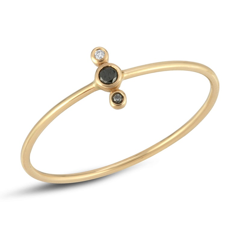 Gold Stackable Rings for Women Gold Stacking Rings Black and White Diamond 14k Gold Black and White Diamond Ring Gold Stacking
