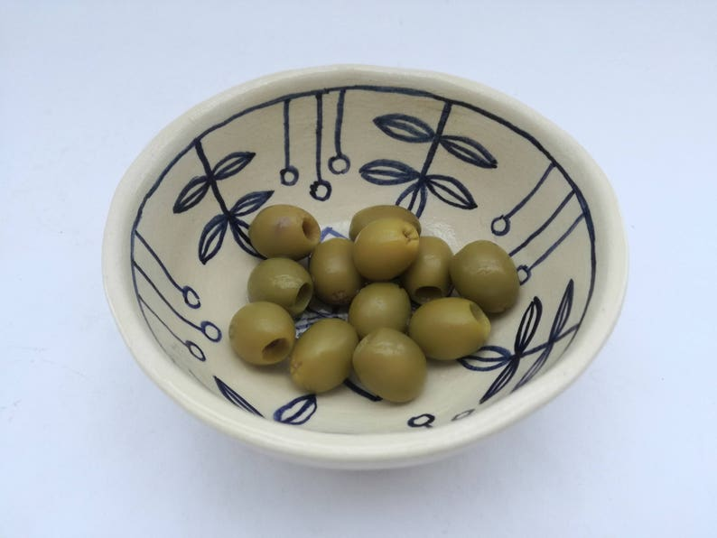 Handmade pottery Rustic style  bowl Healthy living Vegan Snacks Olives Sauce Pickles Dip Cereal Porridge Breakfast serving  dish 5 inches