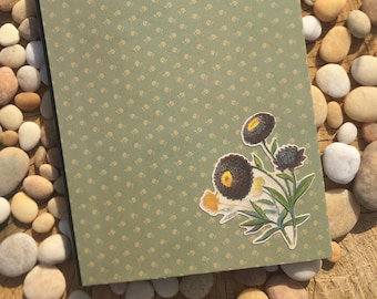 Sage Green Floral Altered Composition Notebook