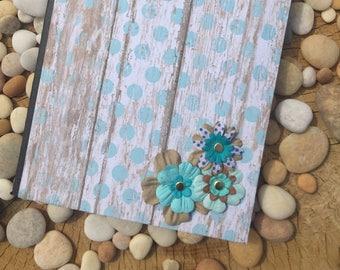 Blue Floral Polka Dot Altered Composition Notebook