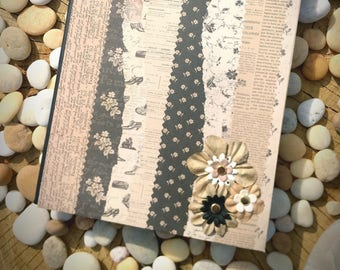 Black and Cream Newsprint Floral Altered Composition Notebook