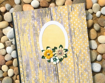 Yellow Polka Dot Floral Frame Altered Composition Notebook