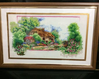 Cross stitch picture Cross stitch scenery Embroidered picture Embroidery art work Textile picture Home decor