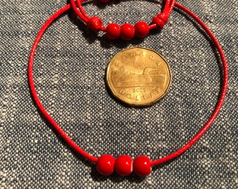Red porcelain beads bracelet