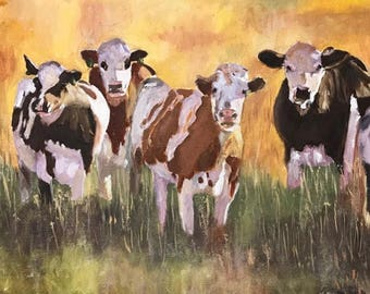 Cows in the Sunset is an original oil painting hand painted by myself.