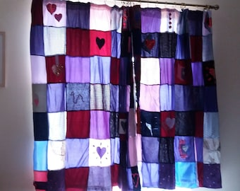 Very Large lined patchwork curtains