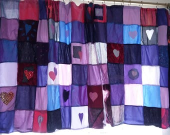 Large lined patchwork curtains