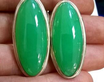 Rare Natural Chrysoprase Earrings