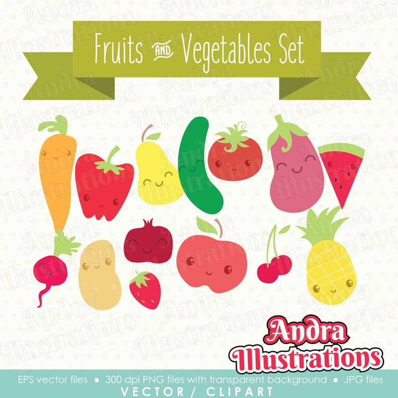 Cute Fruits And Vegetables Clipart Vector Graphics Digital Etsy