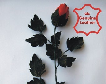 Long stem, red leather rose, Third Wedding Anniversary, Gift Flower. Ready to ship