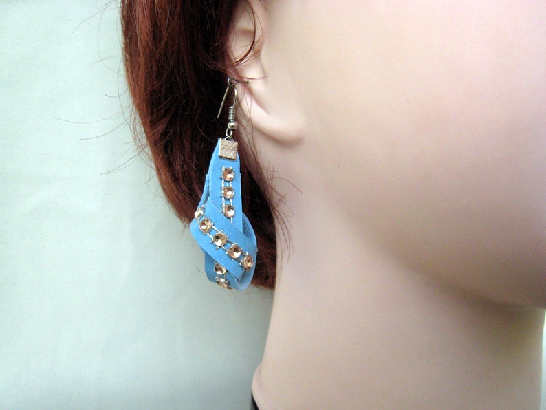 Leather jewelry Leather Earrings and Bracelet Sky Blue Bracelet and Earrings Set Leather Bangle
